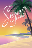 Exotic ocean beach landscape background. Silhouette palm tree pink orange sunset sky sun. Hot summer vacation evening  illus Royalty Free Stock Images