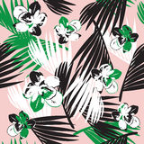Exotic orchid with palm tree repeatable pattern Stock Images