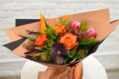 Exotic original bouquet of flowers royalty free stock photo