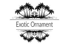 Exotic Ornament with Palm Trees Silhouette Royalty Free Stock Photo