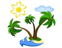 Exotic palm island. Isolated on white Royalty Free Stock Photos
