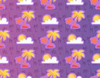 Exotic Palm Trees with African Plants and Animals. Sun and clouds seamless pattern isolated on purple background. Vector illustration of africa wallpaper Stock Photo