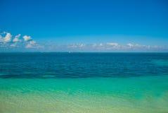 Exotic Paradise. Tropical Resort. Caribbean sea Jetty near Cancun. Mexico beach tropical Stock Photos