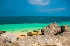 Exotic Paradise. Tropical Resort. Caribbean sea Jetty near Cancun. Mexico beach tropical Stock Photography