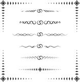 Exotic Paragraph Dividers. A collection of 6 ornamental paragraph dividers and a frame, black & white, raster illustration (vector format is also available for Stock Photography