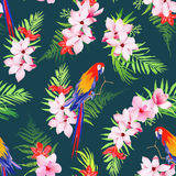 Exotic parrots and tropical flowers seamless vector pattern Stock Photo