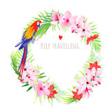 Exotic parrots and tropical flowers vector design frame Royalty Free Stock Images