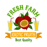 Exotic passion fruits with juice isolated badge Royalty Free Stock Photography