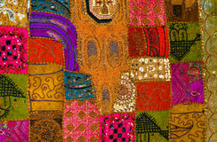Exotic Patchwork. A colourful patchwork quilt made with traditional Arabic style fabrics Royalty Free Stock Photography