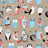 Exotic pattern with different owls Stock Images