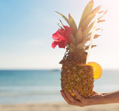 Exotic pineapple cocktail. Royalty Free Stock Photography