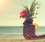 Exotic pineapple cocktail. Stock Image