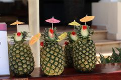 Exotic pineapple cocktails. / Natural pineapple drinks with rum or Pina colada stock photo