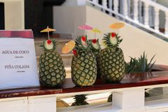 Exotic pineapple cocktails. / Natural pineapple drinks with rum or Pina colada royalty free stock photo
