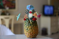 Exotic pineapple cocktails. / Natural pineapple drinks with rum or Pina colada stock photos