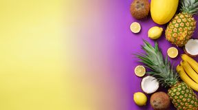 Exotic pineapples, coconuts, banana, melon, lemon, tropical palm and green monstera leaves on yellow, purple background Royalty Free Stock Photos