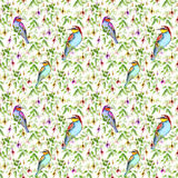 Exotic pink flowers and bright tropical birds. Seamless floral pattern. Watercolour Stock Photo