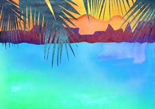 Exotic places Hawaii, Haiti, Maldives, hot countries. Watercolor illustration in style of carving paper. With palm trees stock image