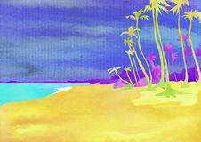 Exotic places Hawaii, Haiti, Maldives, hot countries. Watercolor illustration in style of carving paper. With palm trees stock photography