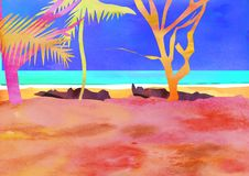 Exotic places Hawaii, Haiti, Maldives, hot countries. Watercolor illustration in style of carving paper. With palm trees royalty free stock images