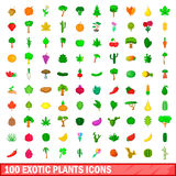 100 exotic plants icons set, cartoon style. 100 exotic plants icons set in cartoon style for any design illustration Stock Photo