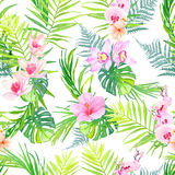 Exotic plants seamless vector print. Exotic plants and flowers seamless vector print Stock Image