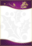Exotic Purple Holly Adorned Gift Card or Label. With Room For Your Own Text royalty free illustration