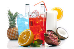 Exotic red drink set with fruits Stock Image