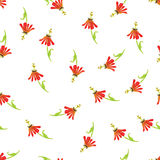 Exotic red flowers watercolor seamless vector print Stock Image