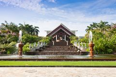 Exotic resort with gelegant fountain Stock Images
