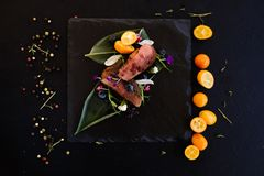 Exotic restaurant gourmet food Stock Images