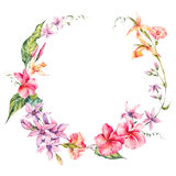 Exotic round frame, flowers, twigs and leaves. Royalty Free Stock Images