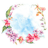 Exotic round frame, flowers, twigs and leaves. Stock Photos