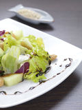 Exotic salad. A salad made of lettuce,cabbage,melon and cashius peanuts stock photography