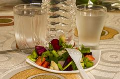 Exotic salad and water. Water and green exotic salad on the table stock photos