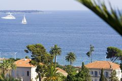 Exotic scenery. Typical view of the city of Cannes, French Riviera, Cote d'azure Royalty Free Stock Photography