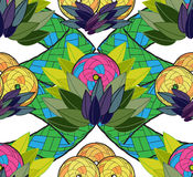 Exotic seamless background. With the stylised fruit and leaves Royalty Free Stock Photos