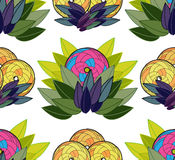 Exotic seamless background _ 2. Seamless background with leaves and circles on a white background Stock Image