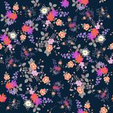 Exotic seamless floral background. Bouquets of garden flowers isolated on dark blue background. Print for fabric.  vector illustration
