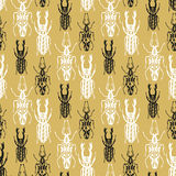 Exotic seamless pattern with insect beetles in Stock Images