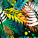 Exotic Seamless pattern palm leaves pattern. stock illustration