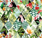 Exotic seamless pattern, patchwork. Exotic beach trendy seamless pattern, patchwork illustrated floral vector tropical banana leaves, hibiscus flower, lilies Royalty Free Stock Photography