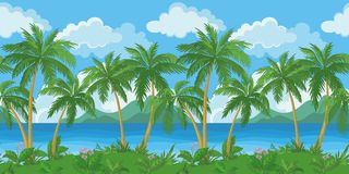 Exotic seamless tropical sea landscape. Exotic seamless background, tropical landscape, sea island with green palm trees and flowers and cloudy sky. Vecto Royalty Free Stock Photos