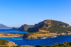Exotic seascape. In Messenia, Peloponnes, Greece royalty free stock photo