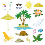 Exotic Set, Palm, Flowers and Beach Objects Stock Photo