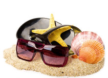 Exotic shell, shoe and glasses on sand Royalty Free Stock Images