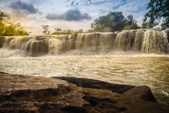 Exotic small waterfall for swimming named Tadton Waterfall in Stock Photography