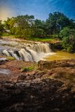 Exotic small waterfall for swimming named Tadton Waterfall in Stock Photo