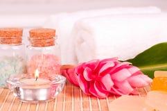 Exotic spa vakantie met gemberbloem en badzout Royalty-vrije Stock Afbeelding