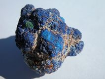 Exotic specimen of the copper Crystal Azurite. Azurite nodule with beautiful Purple Blue, from Burra in South Australia royalty free stock image